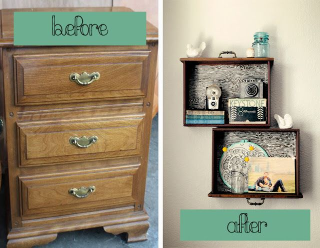 20+ Creative Ideas and DIY Projects to Repurpose Old Furniture --> DIY Dresser Drawer Shelves