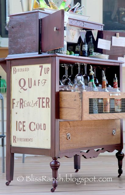 20+ Creative Ideas and DIY Projects to Repurpose Old Furniture --> Old Dresser Turned Portable Bar