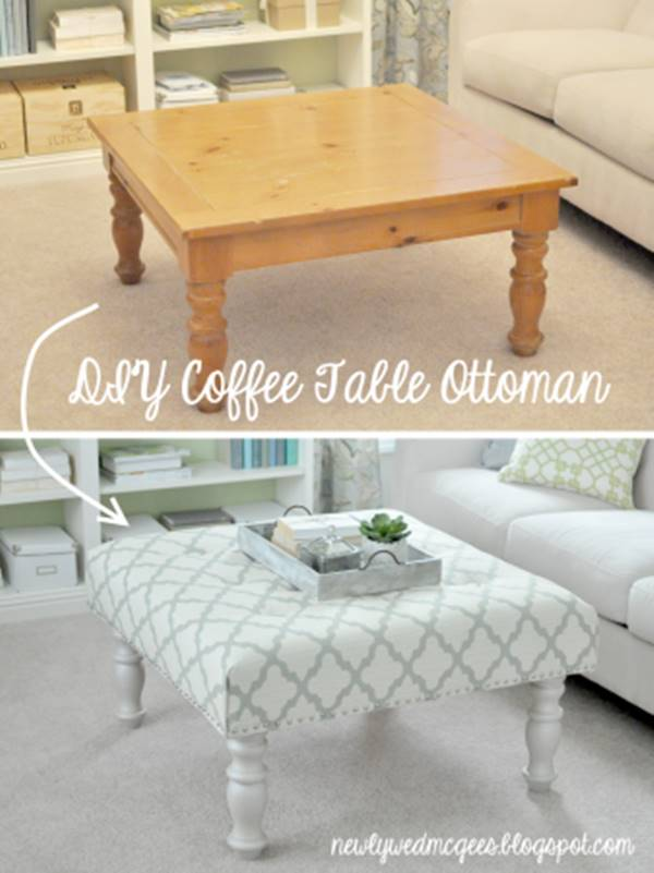 20+ Creative Ideas and DIY Projects to Repurpose Old Furniture --> DIY Upholstered Ottoman