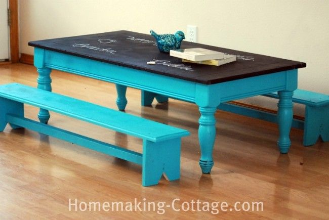 20+ Creative Ideas and DIY Projects to Repurpose Old Furniture --> DIY Kid's Chalkboard Table with Mini Benches
