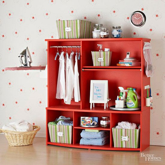 20+ Creative Ideas and DIY Projects to Repurpose Old Furniture --> Entertainment Center Turned into Laundry Station