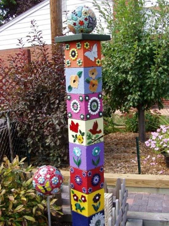20+ Creative Uses of Concrete Blocks in Your Home and Garden --> Cinder Block Decorative Tower