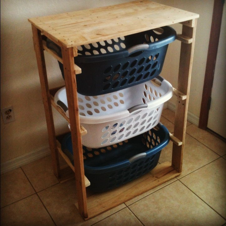 30+ Creative Pallet Furniture DIY Ideas and Projects --> DIY Pallet Laundry Basket Dresser