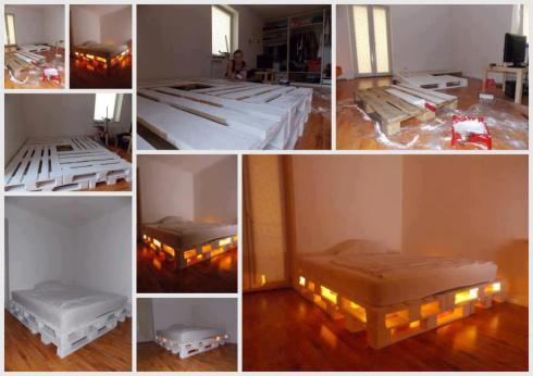 30+ Creative Pallet Furniture DIY Ideas and Projects --> DIY Glowing Bed from Wooden Pallets