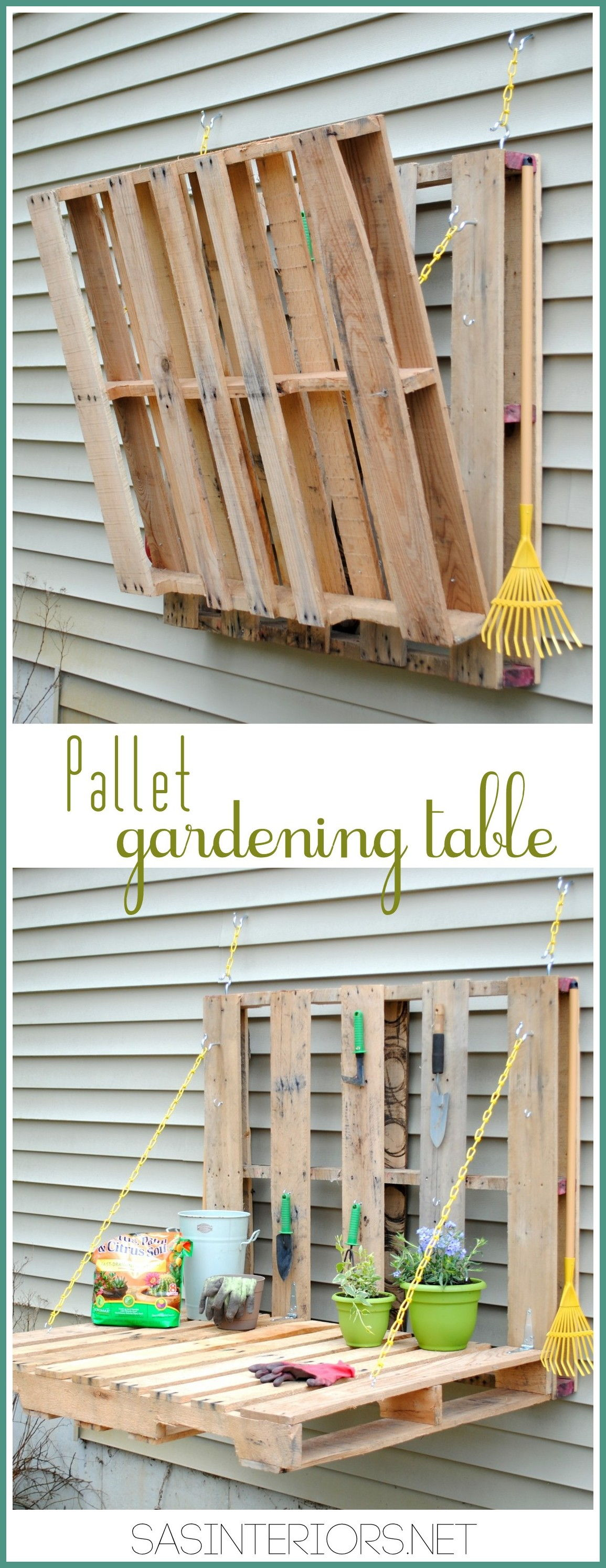 30+ Creative Pallet Furniture DIY Ideas and Projects --> DIY Pallet Gardening Table