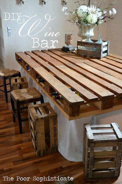 30+ Creative Pallet Furniture DIY Ideas and Projects --> DIY Pallet Wine Bar