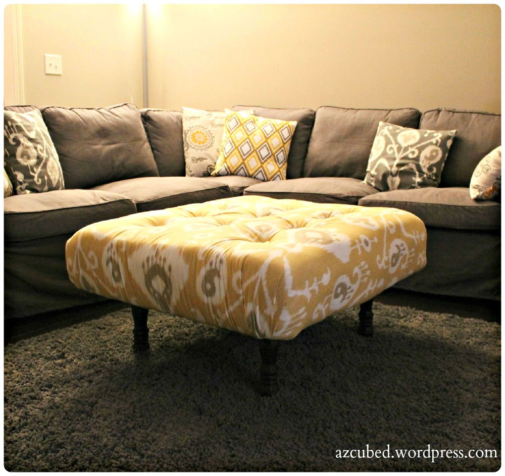 30+ Creative Pallet Furniture DIY Ideas and Projects --> DIY Tufted Ikat Ottoman from Upcycled Pallet