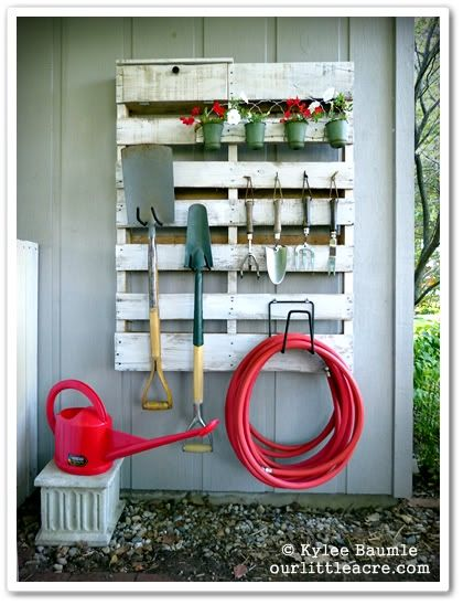 30+ Creative Pallet Furniture DIY Ideas and Projects --> DIY Pallet Gardening Tool Organizer