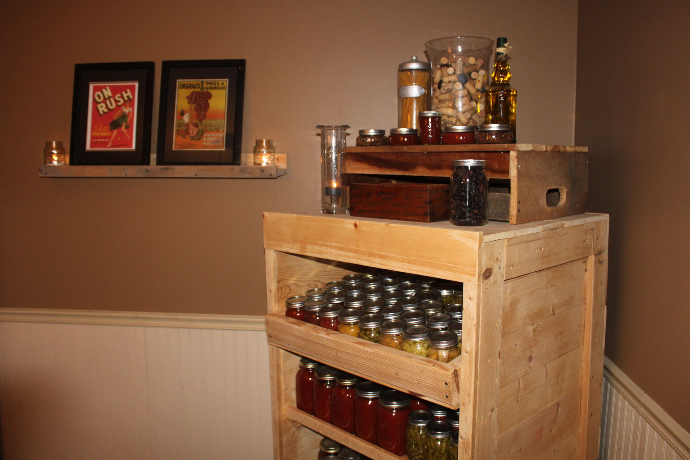 30+ Creative Pallet Furniture DIY Ideas and Projects --> Canning Pantry Cupboard Built from Pallets