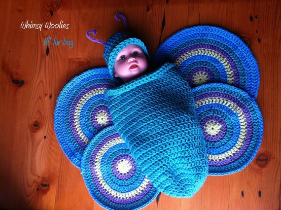 35+ Adorable Crochet and Knitted Baby Cocoon Patterns --> Crochet Butterfly Baby Cocoon
