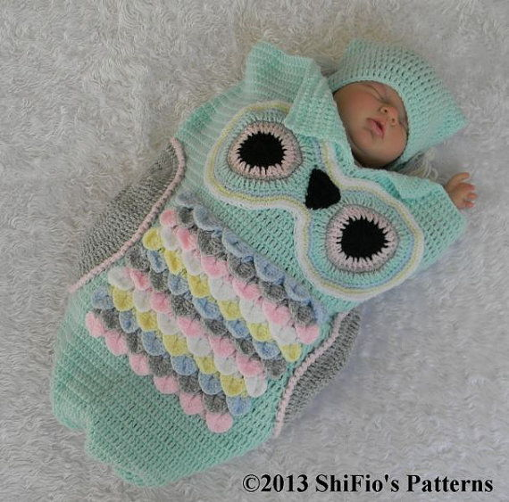 35+ Adorable Crochet and Knitted Baby Cocoon Patterns --> Crochet Owl Baby Cocoon