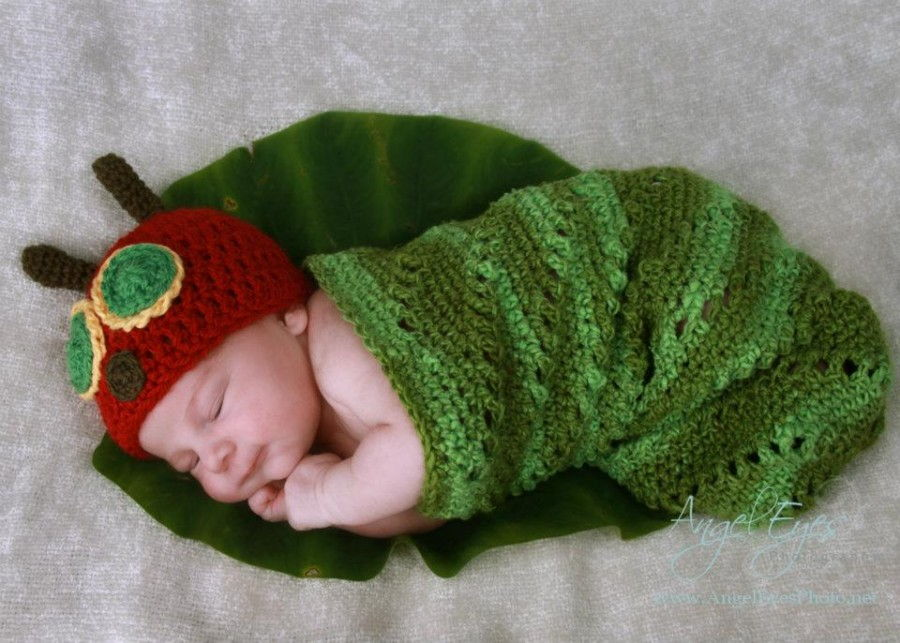 35+ Adorable Crochet and Knitted Baby Cocoon Patterns --> The Very Hungry Caterpillar Crochet Baby Hat and Cocoon