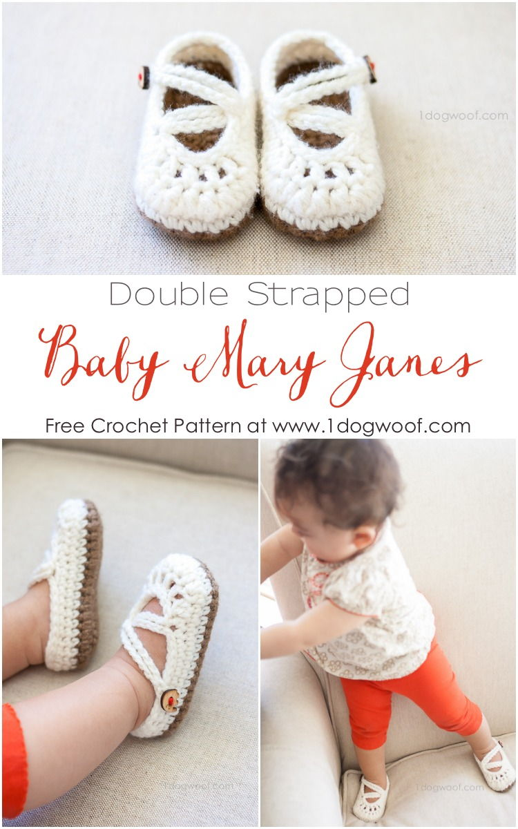 40+ Adorable and FREE Crochet Baby Booties Patterns --> Double Strapped Crochet Baby Mary Jane Slippers