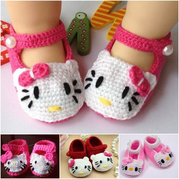 ed8e9dae4bef 40+ Adorable and FREE Crochet Baby Booties Patterns --  Hello Kitty Crochet  Slippers ...