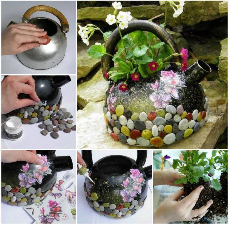 40+ Creative DIY Garden Containers and Planters from Recycled Materials --> DIY Recycled Kettle Planter