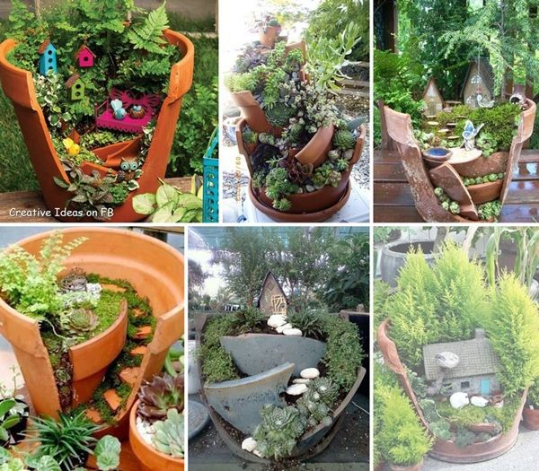 40+ Creative DIY Garden Containers and Planters from Recycled Materials --> Broken Pots Mini Fairy Garden