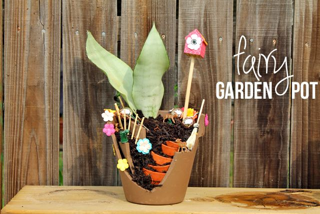 40+ Creative DIY Garden Containers and Planters from Recycled Materials --> DIY Fairy Garden Pot
