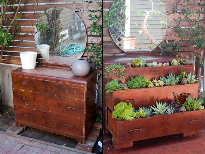 40+ Creative DIY Garden Containers and Planters from Recycled Materials --> Repurpose Old Dresser into Garden Planter
