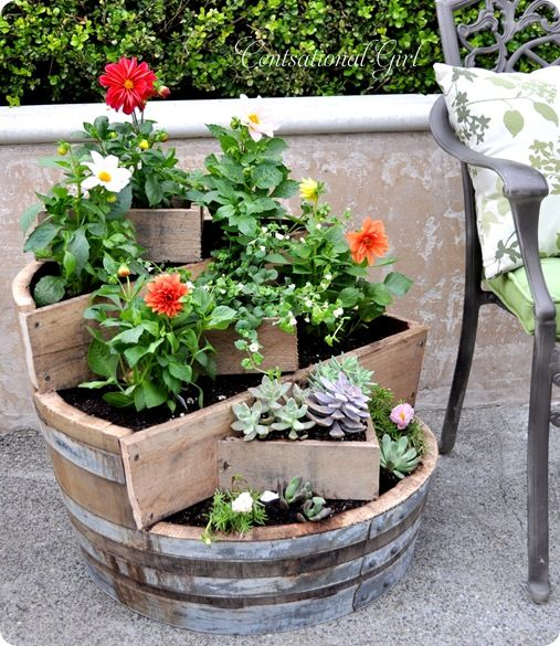 40+ Creative DIY Garden Containers and Planters from Recycled Materials --> DIY Recycled Wine Barrel Planter