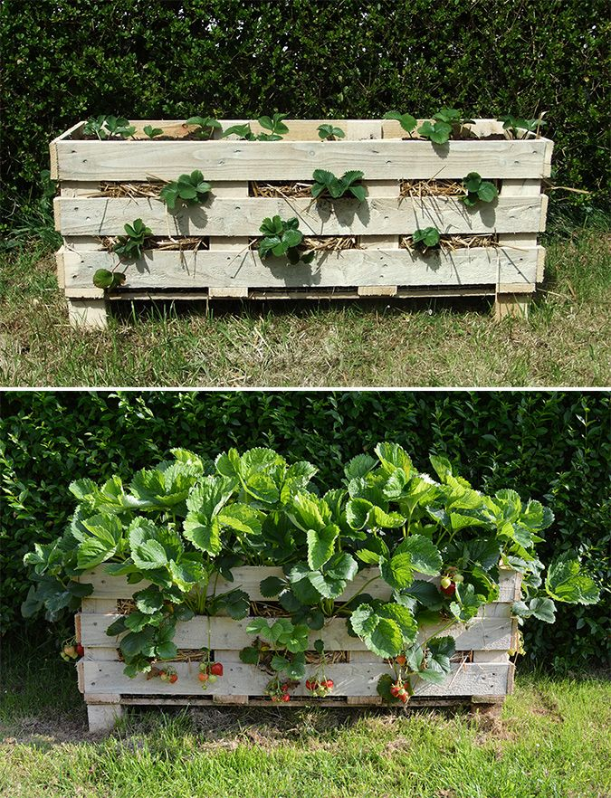 40+ Creative DIY Garden Containers and Planters from Recycled Materials --> Repurpose Pallets into Garden Planters