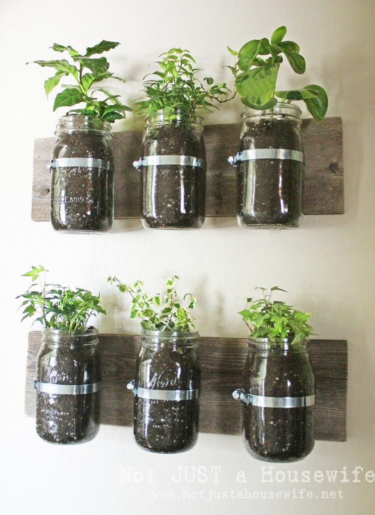 40+ Creative DIY Garden Containers and Planters from Recycled Materials --> DIY Mason Jar Wall Planter