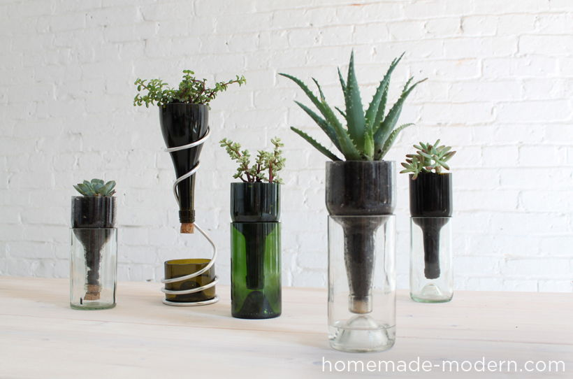 40+ Creative DIY Garden Containers and Planters from Recycled Materials --> DIY Wine Bottle Desktop Planters