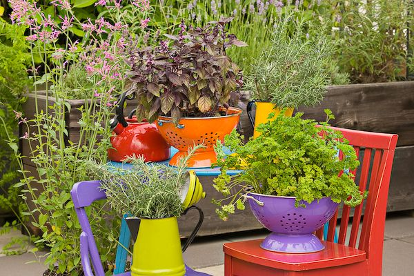 40+ Creative DIY Garden Containers and Planters from Recycled Materials --> Colander Planters