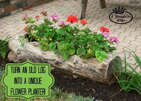 40+ Creative DIY Garden Containers and Planters from Recycled Materials --> Turn an Old Log into a Unique Flower Planter