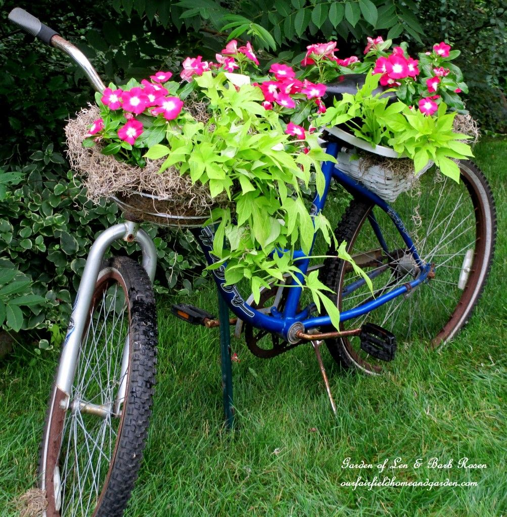 40+ Creative DIY Garden Containers and Planters from Recycled Materials --> DIY Bicycle Planter