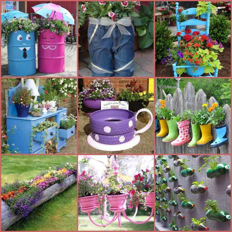 40 creative diy garden containers and planters from for Flower pot making with waste material