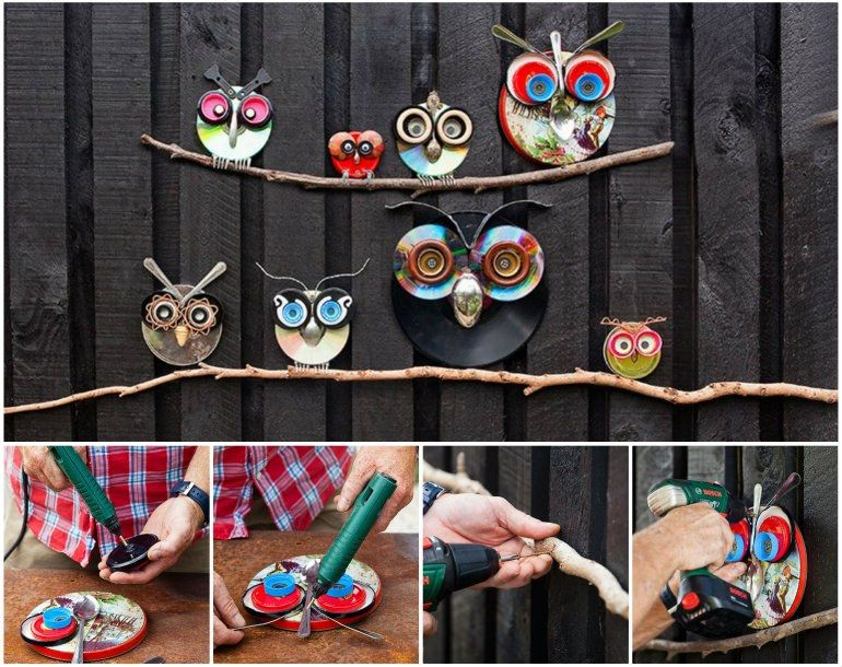 Creative ideas diy cute owl decoration from recycled lids for Recycled decoration