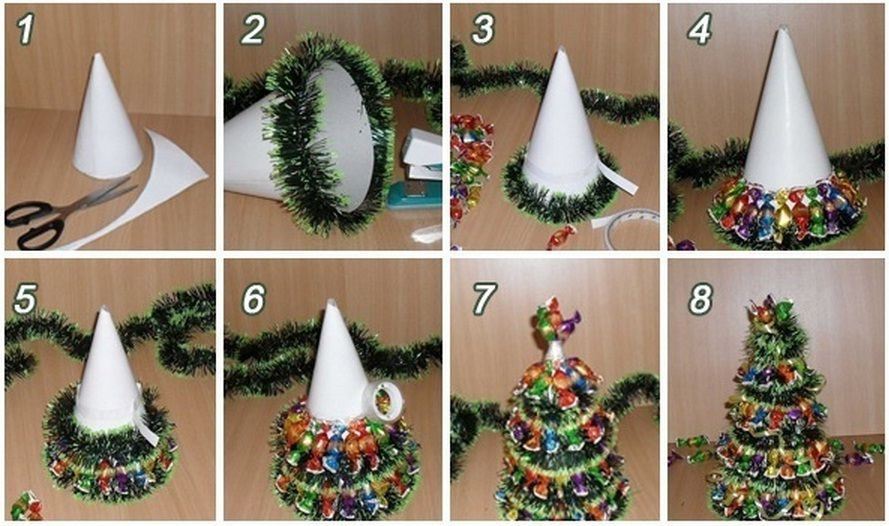 creative ideas diy mini christmas tree with chocolates and tinsel - Tinsel Christmas Decorations