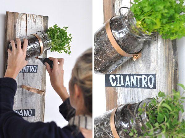 20+ Creative DIY Vertical Gardens For Your Home --> DIY Mason Jar Herb Garden