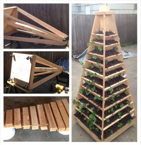 20+ Creative DIY Vertical Gardens For Your Home --> DIY Vertical Pyramid Tower Garden Planter