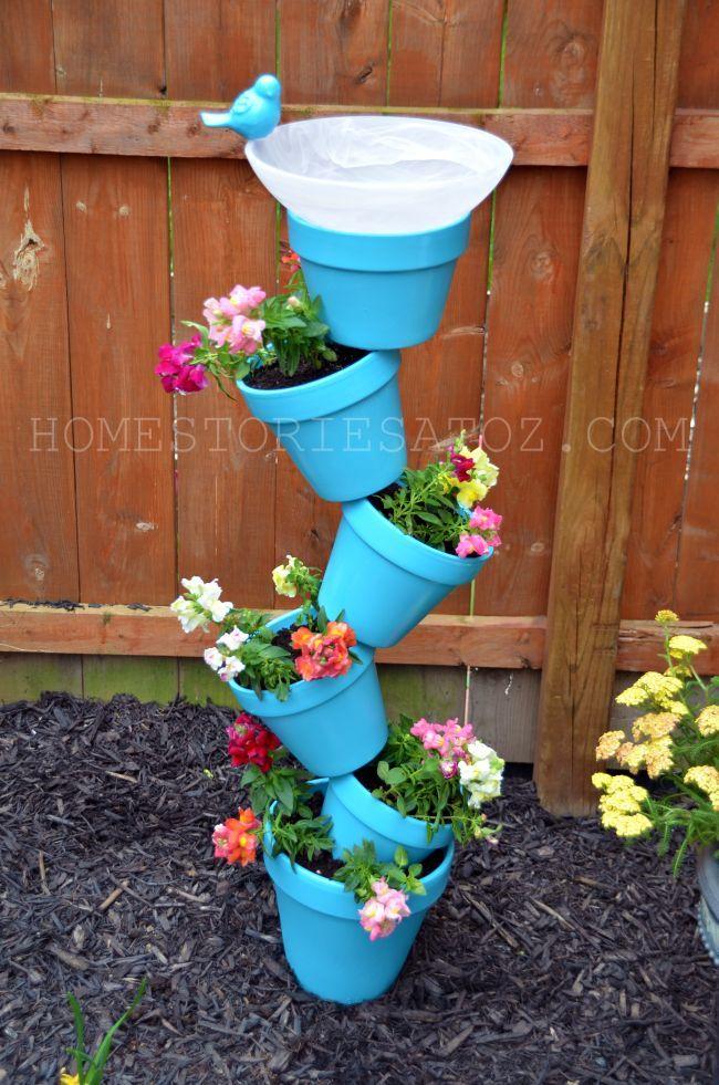 20+ Creative DIY Vertical Gardens For Your Home --> DIY Garden Planter & Bird Bath