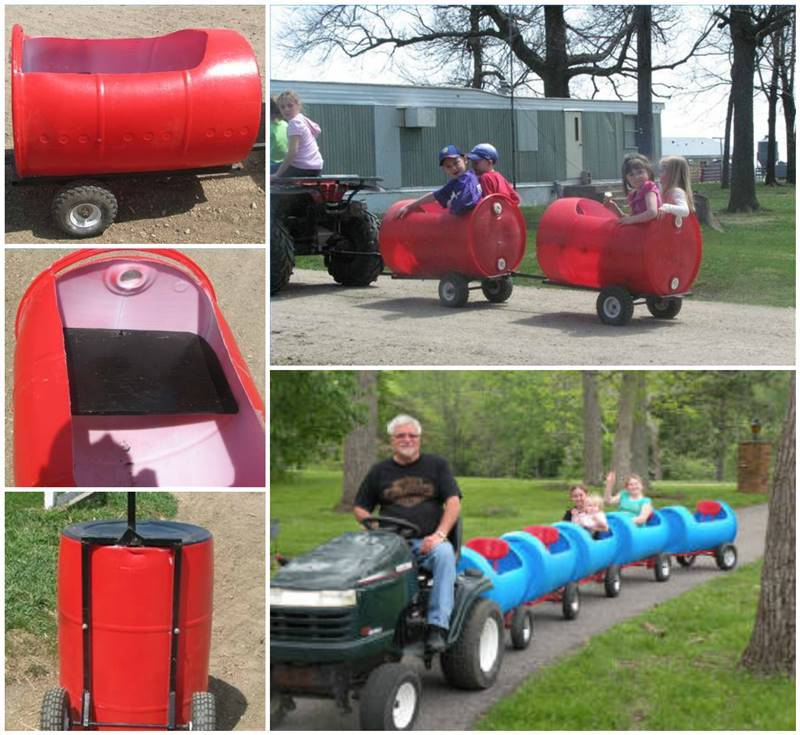 Creative Ideas   DIY Plastic Barrel Outdoor Train