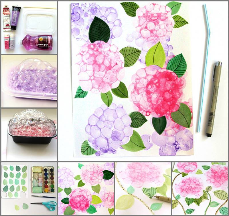 Creative Ideas DIY Pretty Bubble Paint Flower Hydrangeas