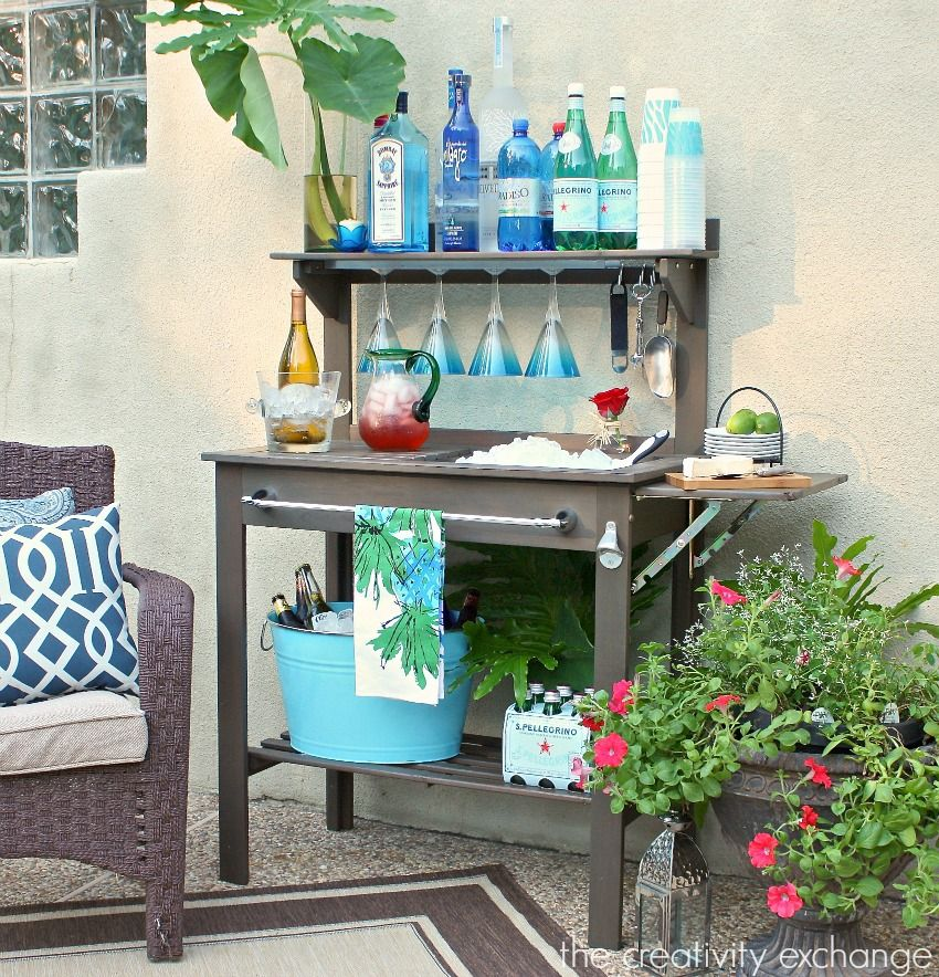 30+ Creative DIY Wine Bars for Your Home and Garden --> Potting Bench Turned Outdoor Bar