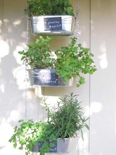 35+ Creative DIY Herb Garden Ideas --> DIY Hanging Herb Garden