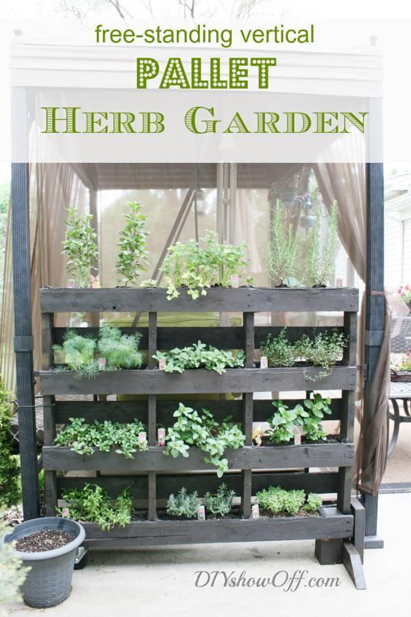 35+ Creative DIY Herb Garden Ideas --> Free Standing Pallet Herb Garden