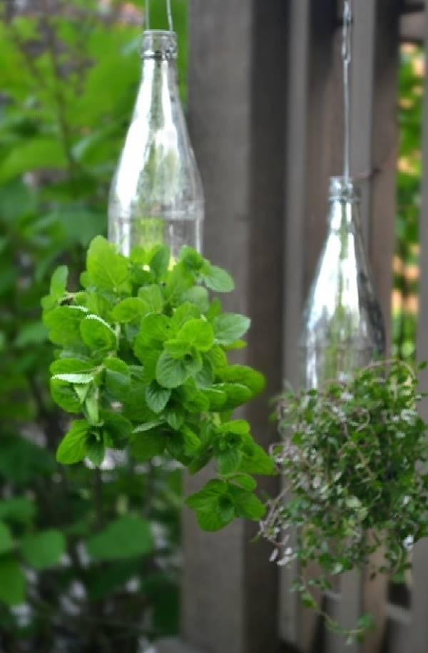 35+ Creative DIY Herb Garden Ideas --> DIY Glass Bottle Hanging Herb Garden