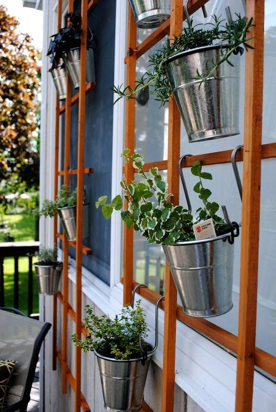35+ Creative DIY Herb Garden Ideas --> Hanging Trellis Herb Garden