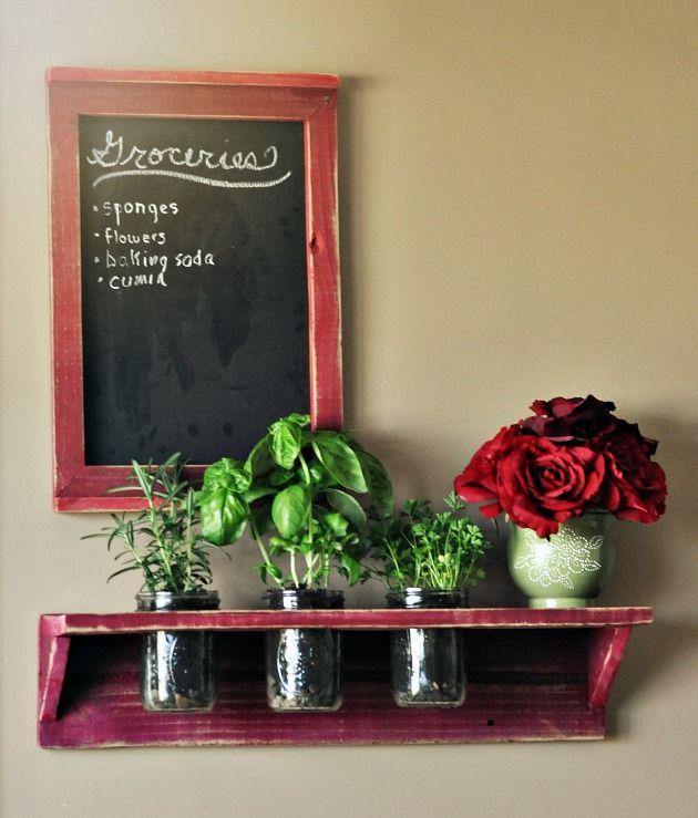 35+ Creative DIY Herb Garden Ideas --> DIY Mason Jar Indoor Herb Garden In The Kitchen