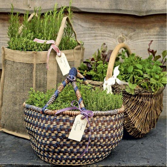 35+ Creative DIY Herb Garden Ideas --> Herb Garden Baskets
