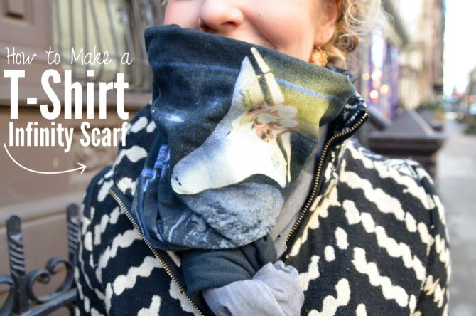 40+ Creative Ideas to Repurpose and Reuse Your Old T-shirts --> DIY T-Shirt Infinity Scarf