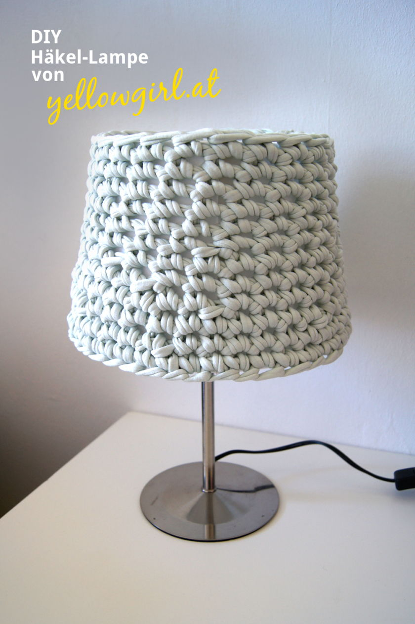 40+ Creative Ideas to Repurpose and Reuse Your Old T-shirts --> DIY Crochet Lampshade