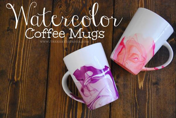 20+ Creative Uses of Nail Polish That You Need to Try --> DIY Watercolor Coffee Mugs