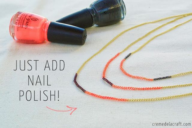 20+ Creative Uses of Nail Polish That You Need to Try --> DIY Nail Polish Colored Necklaces