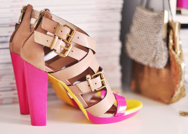 20+ Creative Uses of Nail Polish That You Need to Try --> DIY Painted Neon High Heel Sandals