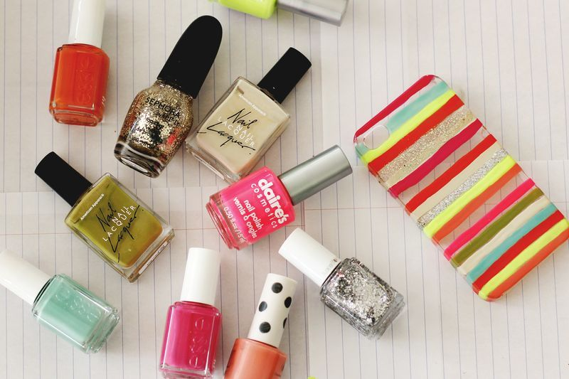 20+ Creative Uses of Nail Polish That You Need to Try --> DIY Phone Case With Nail Polish